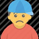 anxious child, poor child, sad boy, sad child, sick child icon