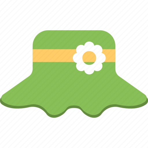 baby hat, cap, cap with flower, green hat, shower cap icon