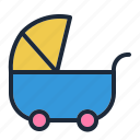 baby, carry, stroller, walk icon