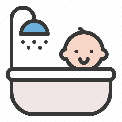 babe, baby, child, childhood, infant, shower, take a bath icon