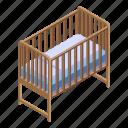 baby, bed, cartoon, family, flower, heart, isometric