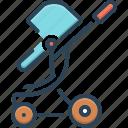 baby sitter, buggy, carriage, pushchair, straggler, stroller, toddler rocker icon
