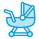 carriage, baby, girl, toy icon