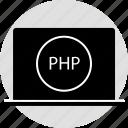code, laptop, php, programming icon