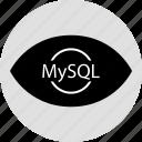 code, mysql, programming, search icon