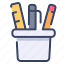 case, pen, pencil, ruler, stationery icon