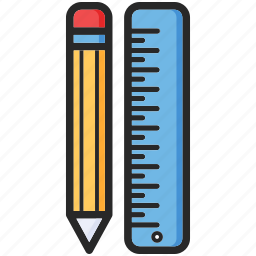 back to school, pencil, ruler, study icon