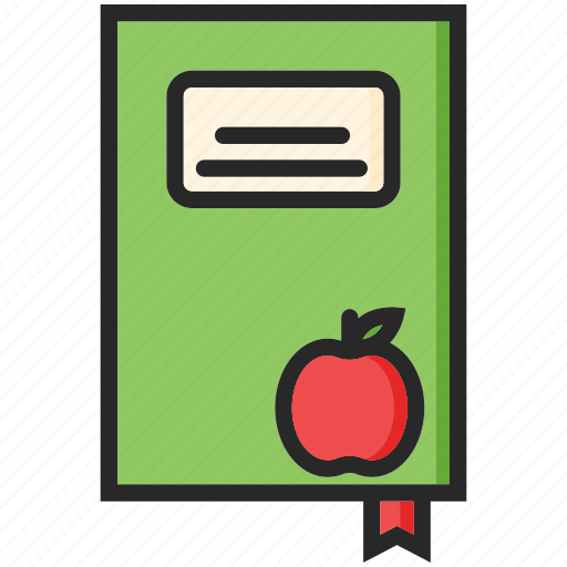 apple, back to school, notebook, study icon