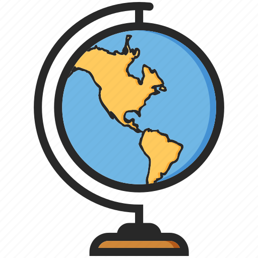 back to school, geography, globe, study icon