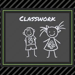 back to school, blackboard, classwork, study icon