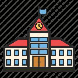 back to school, education, school building, study icon