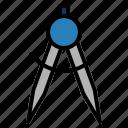 compasses, design, dividers, geometry, line, school, study icon