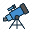 astronomy, back to school, education, space, student, study, telescope icon