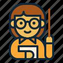 back to school, education, female, student, study, teacher, teaching icon