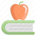 book, fruit, apple, education, study, learning, healthy icon