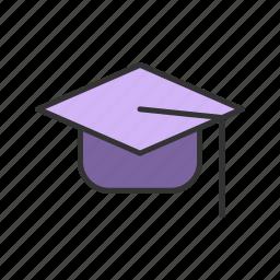 cap, education, graduate, hat, student, styudy icon