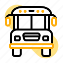 back to school, education, school bus, student, study, transport, vehicle icon