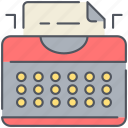 author, machine, novel, office, retro, typing, writer icon