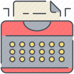 author, machine, novel, office, retro, typing, writer icon