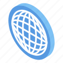 global, business, isometric, market, internet, cartoon, globe icon