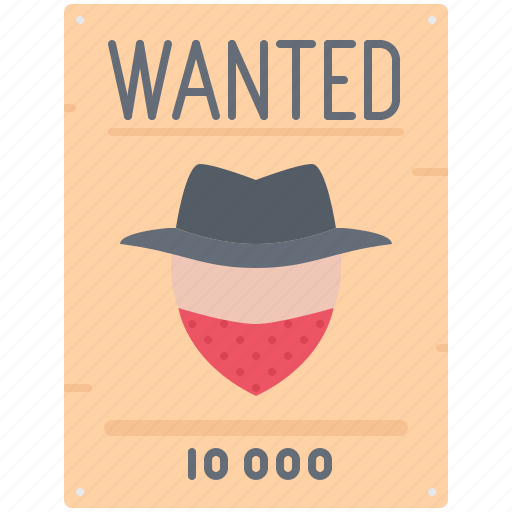 bandit, crime, notice, search, wanted, west, wild icon