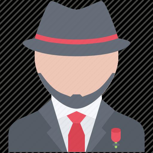 bandit, costume, crime, hat, mafia, mafioso icon