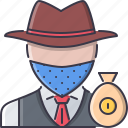 bag, bandit, crime, money, west, wild icon