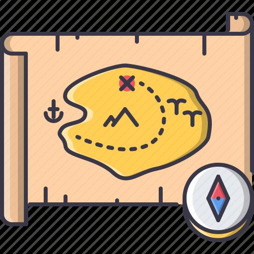 bandit, compass, crime, map, pirate, seafaring, treasure icon