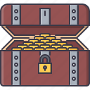box, coin, crime, money, pirate, seafaring, treasure icon