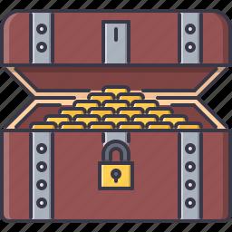 box, coin, crime, money, pirate, seafaring, treasure icon