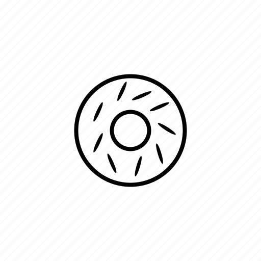 bakery, cake, donut, food, line, outline icon