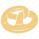 bakery, bakery pretzel, breakfast, food, pastry, pretzel, pretzel icon