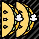 cream, crepe, dessert, fruit, tacos icon