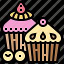 bakery, blueberry, cupcake, dessert, muffin