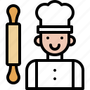 bakery, baked, flour, chef, avatar, rolling pin