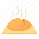 baguette, bake, bakery, bread, breakfast, cartoon, fresh loaf icon