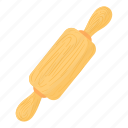 bake, bakery, bread, cartoon, cooking, cylinder, rolling pin icon