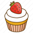 bakery, cake, confectionary, cup, cupcake, dessert, strawberry icon