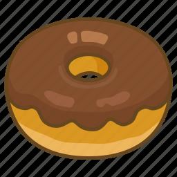 bakery, chocolate, dessert, donut, doughnut, fried, glazed icon