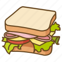 blt, ham, lunch, salad, sandwich icon