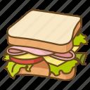 blt, ham, lunch, salad, sandwich