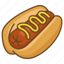 bun, dog, hot, hotdog, mustard, sausage icon
