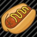 bun, dog, hot, hotdog, mustard, sausage