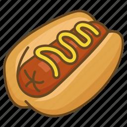 bun, dog, hot, hotdog, mustard, sausage icon