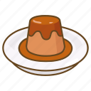 caramel, creme, custard, dessert, flan, pudding icon