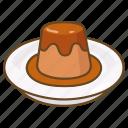 caramel, creme, custard, dessert, flan, pudding icon