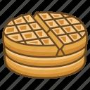 breakfast, dessert, iron, stack, waffle icon
