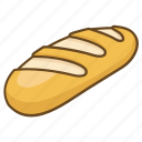 baguette, bake, bakery, bread, french, loaf, stick icon