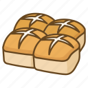 bakery, bread, bun, buns, cross, easter, hot icon