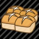 bakery, bread, bun, buns, cross, easter, hot